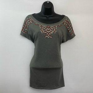 Artisan NY Gray Short Sleeve Blouse Size M P-42